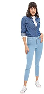 DeFacto Side Pocket Slim-Fit Jeans for Women - Blue, 34