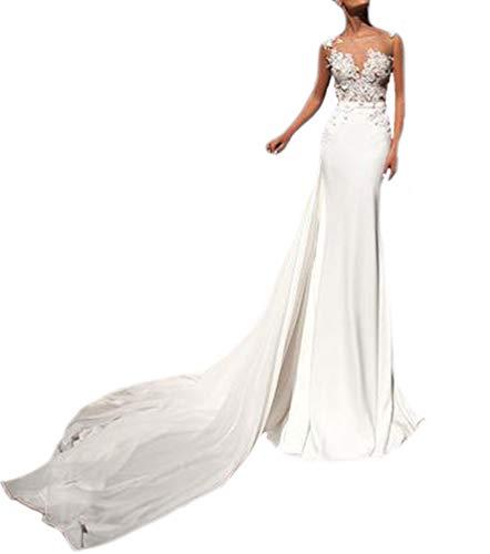 Huixin Damen Elegant Long Kleider Hochzeitskleider Vintage Slim Fit Meerjungfrau Brautkleider Spitzenkleider Weiß Abendkleider Partykleider Mit Schleppe (Weiß,M)