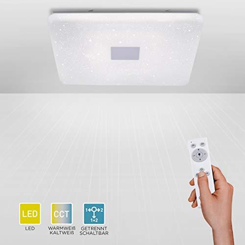 LED Deckenleuchte, IP 20, 80x80, dimmbar mit Fernbedienung, Deckenlampe, Farbtemperatursteuerung, Sternenlicht