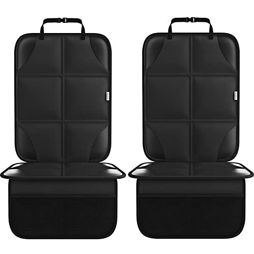 Autositzschutz für Kindersitze, wasserdicht 600D dickste mit rutschfester Rückenpolsterung Autositzbezug Mattenschutz für Ledersitze 2er Pack