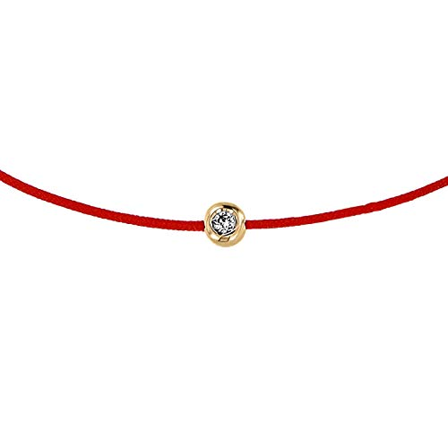 Boutique of Diamonds Red String Bracelet14K Yellow Gold Diamond Bezel Charm Jewellery For Good Luck, Protection & Strength – Handmade Adjustable Bracelets for Women's & Men's Gifts – One Size Fits All