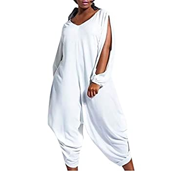 LISTHA Baggy Jumpsuits Plus Size Women V Neck Long Sleeve Romper Playsuit Pants White