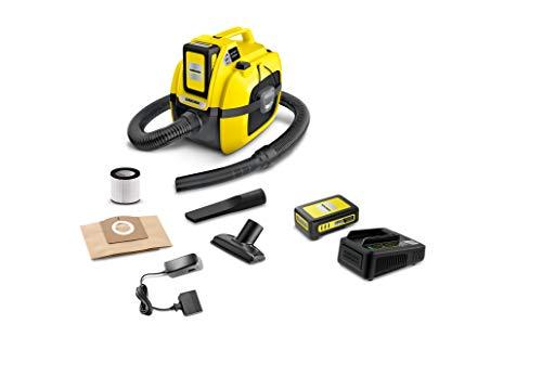 Kärcher Akku-Mehrzwecksauger WD 1 Compact Battery Set (Akku 18 V / 2.5 Ah, Akkulaufzeit:10 min, Leistung: 230 W, Behältergröße: 17 Liter, Blasfunktion, Zubehöraufbewahrung, Saugen ohne Filterwechsel)