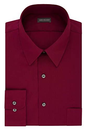 Van Heusen Men's Dress Shirt Fitted Poplin Solid, magenta, 15.5' Neck 32'-33' Sleeve