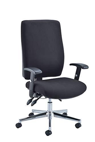 Office Hippo Schreibtischstuhl Lendenwirbelstütze, verstellbare Armlehnen und Sitzgleiter, Textil, Schwarz