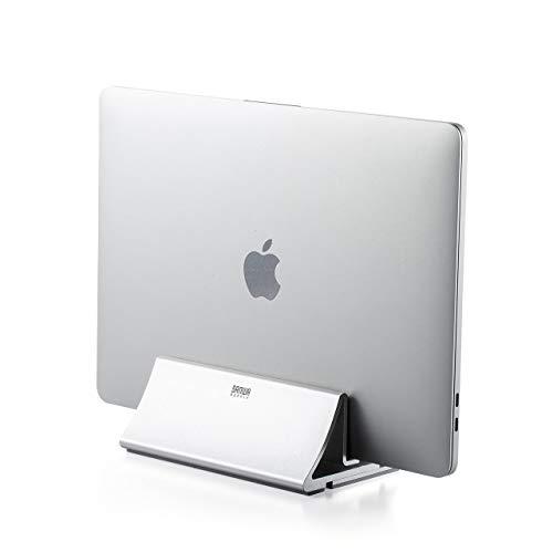 サンワダイレクト ノートPCスタンド Mac クラムシェル スタンド アルミ 縦置き 幅1~3cmまで調節可能 在宅勤務 200-STN034