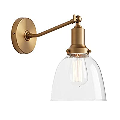 """Permo Industrial Vintage Slope Pole Wall Mount Single Sconce with 6.7"""" Oval Dome Clear Glass Shade Wall Sconce Light Lamp Fixture (Antique)"""