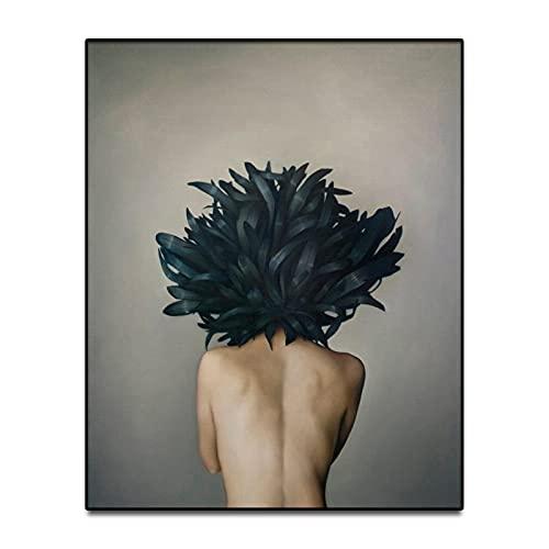 HETHYAN Figura de flores con diseño de plumas para mujer, diseño de cabeza de flor, para sala de estar, dormitorio (color: L, tamaño: 13 x 18 cm, sin marco)