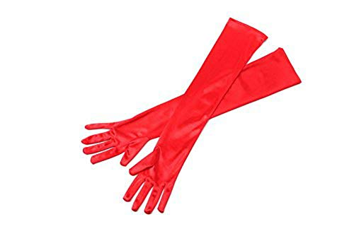 Utopiat Audrey Styled Replica Holly Golightly Satin Opera Gloves for Women | Classic Long Gloves Elbow Length | Long Flapper Evening Glove | Accessories for Girls | Color-Red