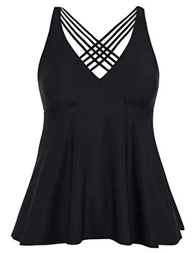 Firpearl Women's Tankini Swimsuits Cross Back Flowy Swim Tops Modest Swimwear US16 Black