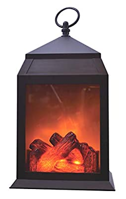 """Ideas In Life LED Fireplace Lantern – 12"""" Decorative Portable Light Indoor Outdoor Battery Operated Large Realistic Fire Effect – with Hanging Ring for Parties Weddings and More"""