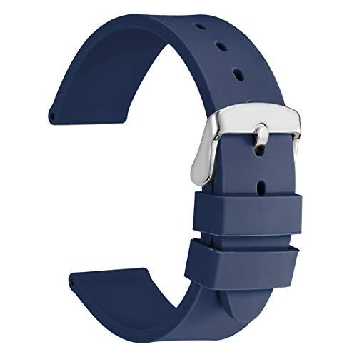 WOCCI 18mm Correa de Reloj de Silicona con Hebilla Plateada, Banda de Repuesto de Goma Suave (Azul Oscuro)