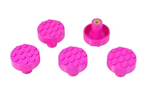 Set of 5 Build-On Brick Knobs, Gem Colors (Hot Pink)