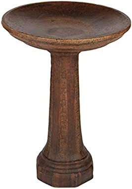 Solid Rock Stoneworks Octagon Bird Bath 24in Tall x 20in Diameter Walnut Color