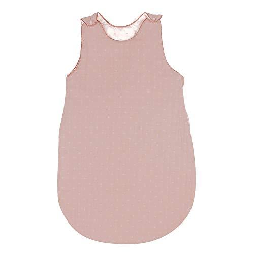 Nattou PURE Ganzjahres-Schlafsack aus 100% Baumwolle mit Reißverschluss und Druckknöpfen, 70cm, Altrosa, 998031