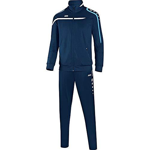 JAKO Fußball Trainingsanzug Performance Kinder Sportanzug Jacke Hose Marine weiß hellblau Gr 164