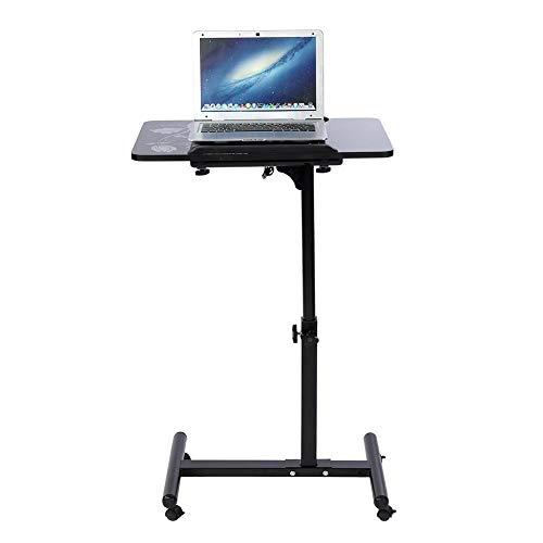 AYNEFY - Escritorio para ordenador portátil con ruedas negras, mesa de ordenador con mesa regulable en altura a rodillos con 4 ruedas para oficina, dormitorio, negro