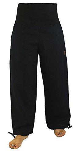 Guru-Shop Goa Wellness Yogahose Hippie Hose, Damen, Schwarz, Baumwolle, Size:L (40), Lange Hosen Alternative Bekleidung