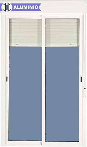 Balconera Aluminio Corredera Con Persiana PVC 1500 ancho × 2185 alto 2 hojas (marco y cajón persiana en kit)