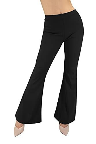 JOPHY & CO. Pantalone Cabana Casual Donna Leggero Comodo a Zampa Larga Tipo Tuta Elastico in Tessuto (cod. 6038) (Nero, S)