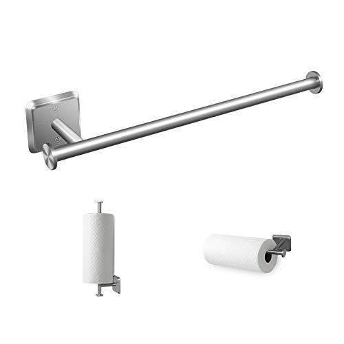 Paper Towel Holder Under Cabinet Mount Hanging Paper Towel Roll Dispenser Wall Mounted Storage Mega RollsNickel