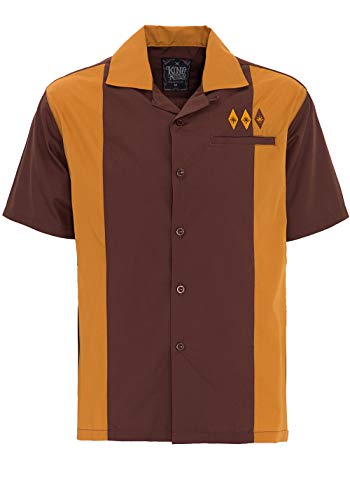 King Kerosin Bowling Camisa, Marrón, 3XL para Hombre