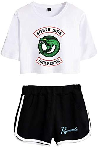 EMILYLE Riverdale Conjunto De Top Y Pantalones Cortos Serpiente Dragón Moda para Mujeres