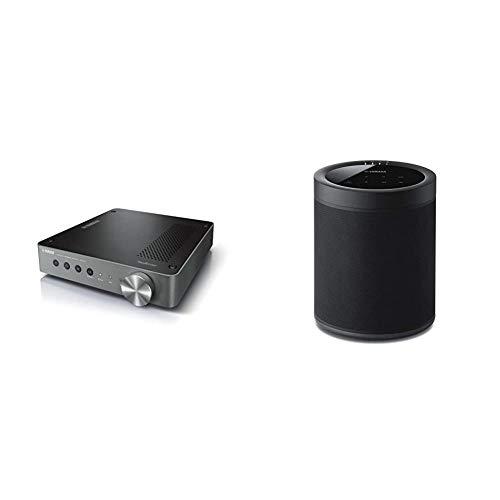 Yamaha MusicCast WXC-50 HiFi-Verstärker dunkel Silber – 250 W ICEpower & MusicCast 20 Soundbox (Kabelloser 2 Wege Netzwerk-Lautsprecher zum Musikstreaming ohne Grenzen) schwarz