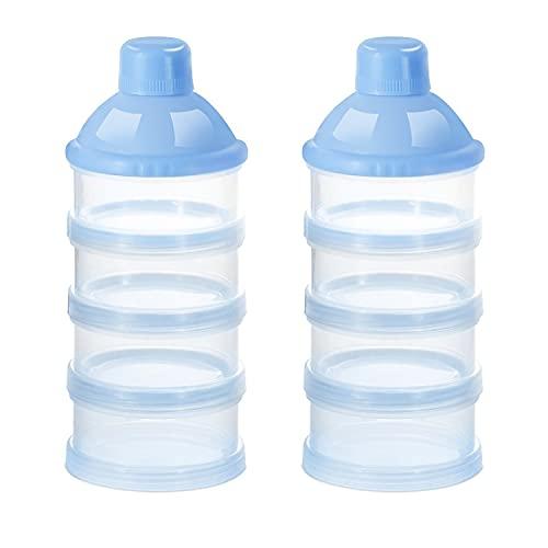 Bambebe Dosificador leche en polvo, 2 Piezas Polvo Caja de Leche, 4 Capas Portátil de Contenedor de Almacenamiento leche en polvo, Infantil para IR de Compras y Actividades al Aire Libre