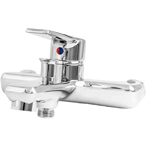 POLO Grifo mezclador de ducha para bañera, el juego viene con cabezal de ducha, conectores y fundas excéntricos de manguera [fácil de instalar]