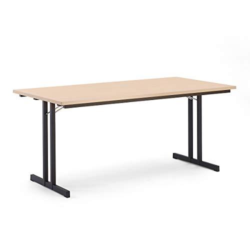 Certeo Klapptisch | HxBxT - 720 x 1600 x 700 mm | Extra starke rechteckige Platte | Gestell schwarz - Platte Buche-Dekor | Klapptisch Mehrzwecktisch...