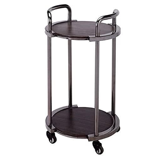 Carrito de 2 niveles para servir vino, metal, madera maciza con ruedas, carrito de almacenamiento, té, café, bebidas, organizador, estante para lugares de alta gama, bar, hogar, cocina, comedor, baño