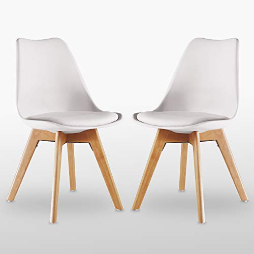 Life Interiors: Lorenzo Retro Stuhl – Kunststoffschale   gepolsterte Sitzfläche   Holzbeine   Esszimmerstühle   Klassisches Design – Weiß Schwarz Grau Rot Gelb Pink Grün Blau   (Weiß, 2)