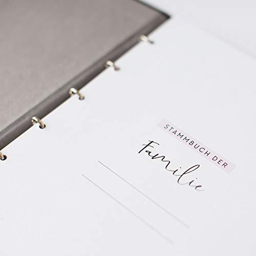 JO & JUDY Familienstammbuch | Hochzeit | Dunkelgrau mit Goldfolienprägung - 16,6 x 22 cm - 10 Inhaltsseiten - Froschtasche - 6-fach Ringmechanik - 4