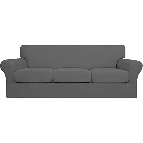 Easy-Going 4 Pieces Stretch Soft Couch Cover for Dogs - Washable Sofa Slipcover for 3 Separate Cushion Couch - Elastic Furniture Protector for Pets, Kids(Sofa,Gray)