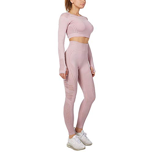 Damen Sportswear Set Yoga Anzug Top und Leggings Stretch Fit Gym Wear Set Trainingsanzug Gr. Medium, Red Bean Paste