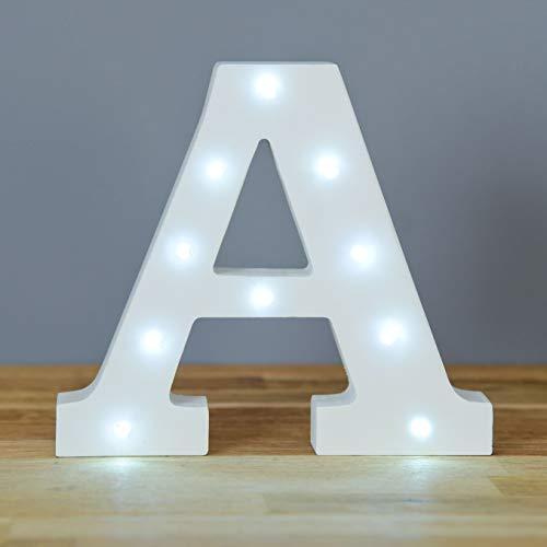 Up in Lights Muestra decorativa de madera blanca de las letras del LED - colgante de pared con pilas - Letra A
