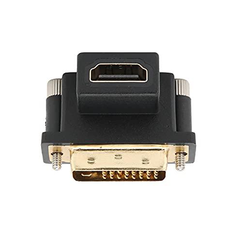 Convertidor de interfaz multimedia ABS HD a DVI, codo superior de 90 ° convertidor de monitor hembra a macho, resistente a la corrosión, adaptador de pantalla para proyectores de interfaz multimedia H