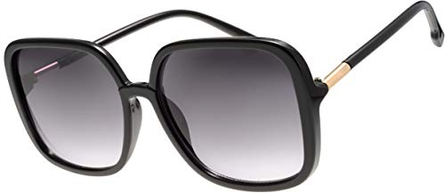Women's Oversized Square Jackie O Hybrid Butterfly Fashion Sunglasses - Exquisite Packaging (730003- Black, Gradient Black)