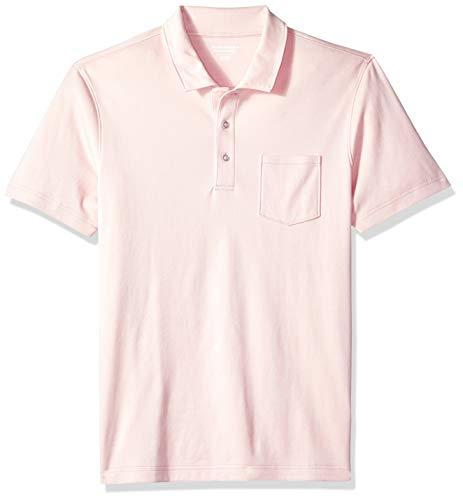 Amazon Essentials Herren-Poloshirt, schmale Passform, mit Brusttasche, aus Jersey, Light Pink, US S (EU S)