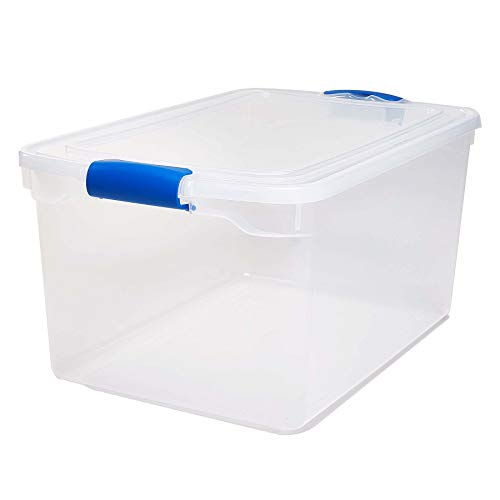 Lowest Prices! Homz Plastic Storage, Modular Stackable Storage Bins with Blue Latching Handles, 66 Q...