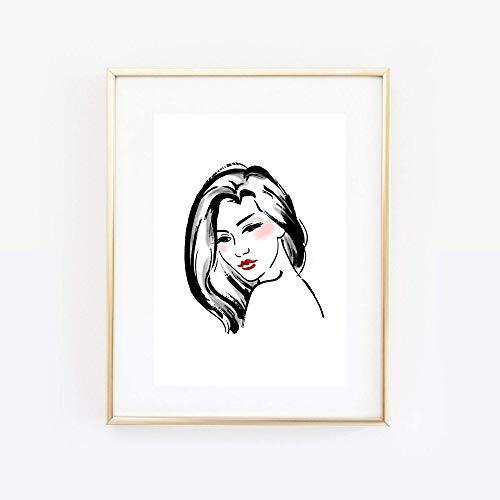 Din A4 Kunstdruck ungerahmt Portät Mädchen Frau Dame Beauty Lippenstift Schönheit Rouge Tusche Skizze Modern Art Druck Poster Bild