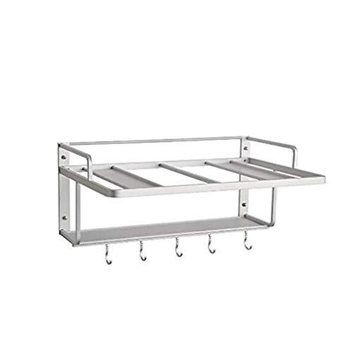 Regal aus Aluminium für Mikrowelle und Küche Multifunktional mit Haken Mikrowellengabel Löffelhalter Küche Aufbewahrungsbox