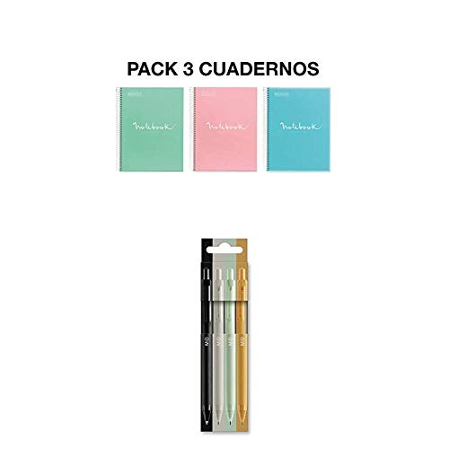 MIQUELRIUS - Pack 3 Cuadernos A4 Cuadricula Emotions Pastel + Pack 4 Bolígrafos Tinta Semi Gel (Negro, Gris, Mint, Mostaza)