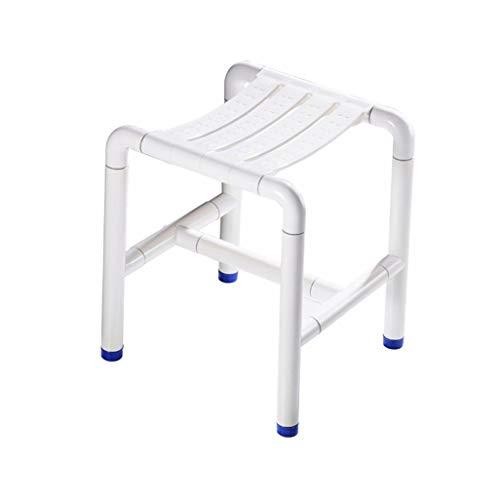 JALAL Dusch-/Badhocker Duschsitzhocker aus Edelstahl für ältere/behinderte Menschen rutschfeste Matten Duschstuhl mit Nylonschale Heavy Duty max.300 kg