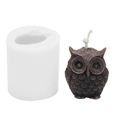 ASDFG Moldes de Resina Hechos a Mano DIY Yeso, Molde de jabón de Cera con Aroma de Soja, Molde de Vela de búho 3D, Molde de Silicona para Hacer Velas