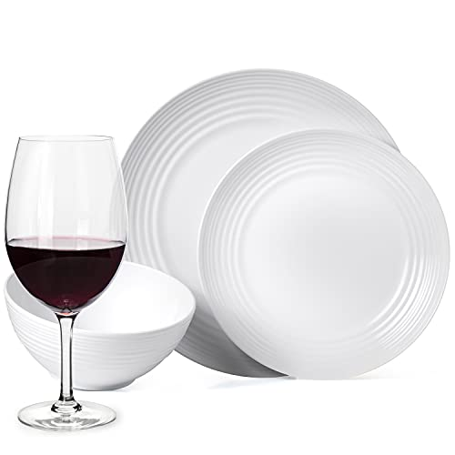 Juego de vajilla antideslizante de melamina para camping, color blanco, para 4 personas, 16 piezas + 4 copas de vino tinto Tiamo, vajilla de picnic, barbacoa, utensilios de cocina