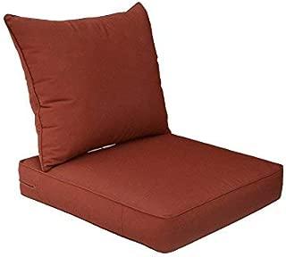 Bossima Sunbrella Indoor/Outdoor Canvas Henna/Red Deep Seat Chair Cushion Set,Spring/Summer Seasonal Replacement Cushions.
