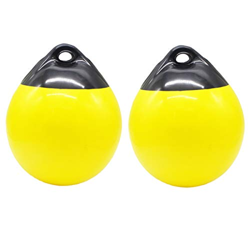 XHaibei Pair of Boat Fenders Ball Round Anchor Buoy Dock Bumper Ball Inflatable Vinyl ASeries Shield Protection Marine Mooring Buoy Yellow A25D98 H122INCH