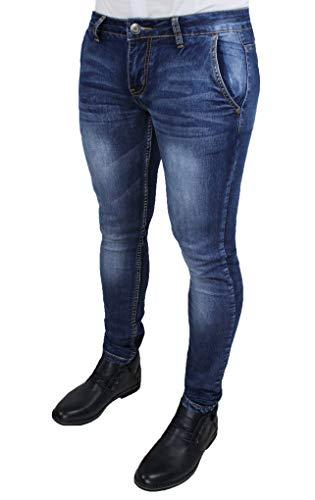 Evoga Jeans Uomo Pantaloni Slim Fit Aderenti Blu Denim Casual (42, Blu Scuro)